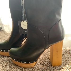 Black studded wood bottom Zara boots